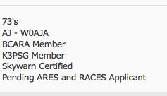 pending ARES-RACES member
